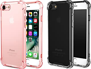 [2pack Rosegold+ClearBlack] CaseHQ Crystal Clear Case Compatible with iPhone 6, 6s Phone, Shock Absorption case Bumper Slim Fit,Heavy Duty Protection TPU Cover