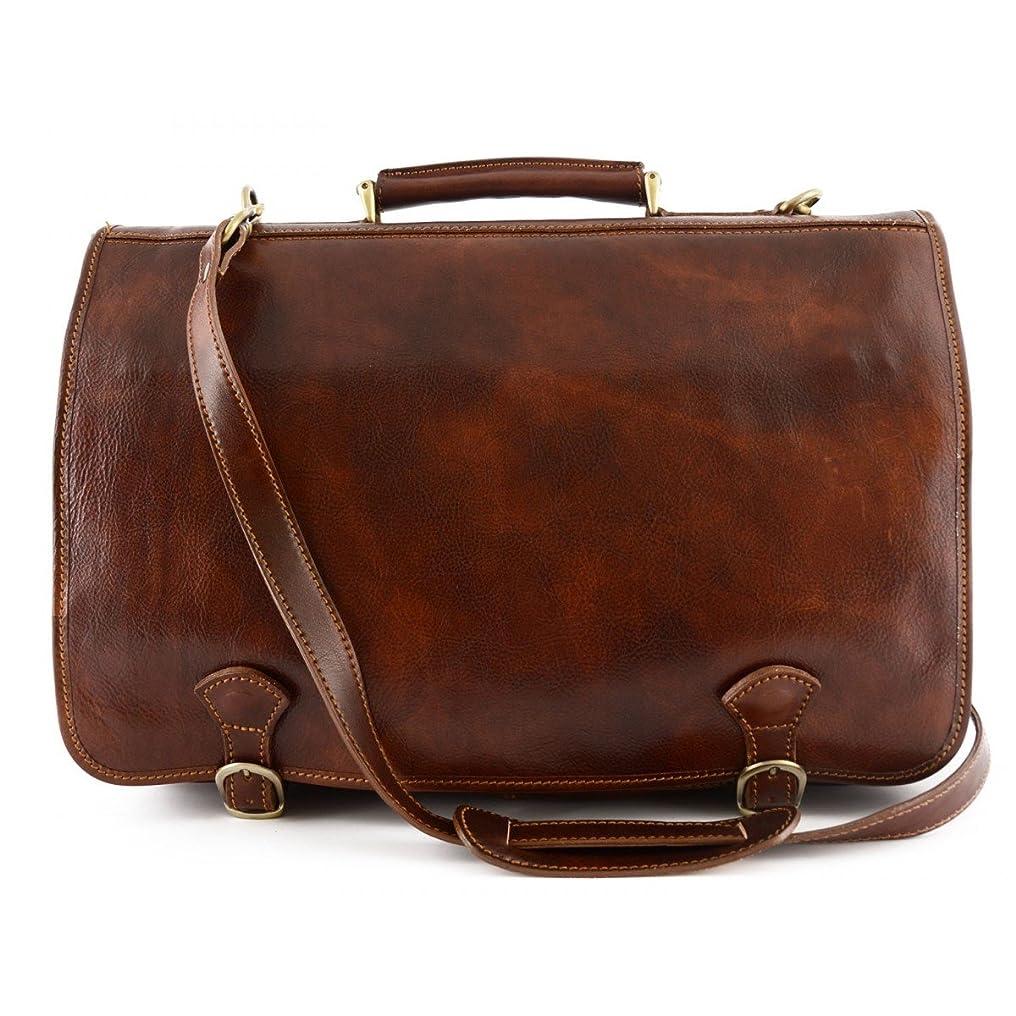 燃料予感決してMade In Italy Business Briefcase In Genuine Leather 2 Compartments And 2 Pockets Color Brown - Business Bag
