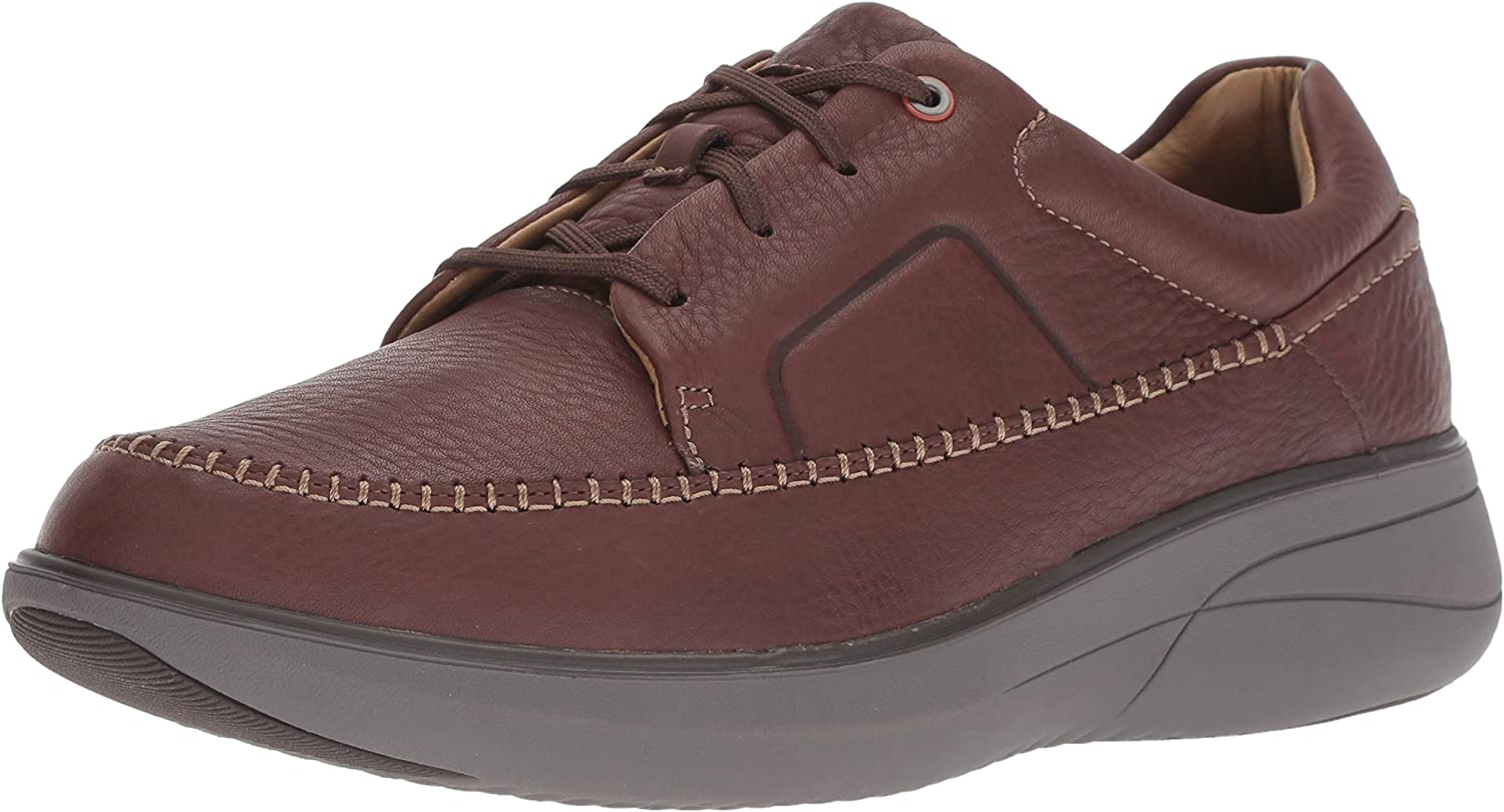 CLARKS Men's Un Rise Lace Sneaker, Mahogany Tumbled Leather, 150 M US