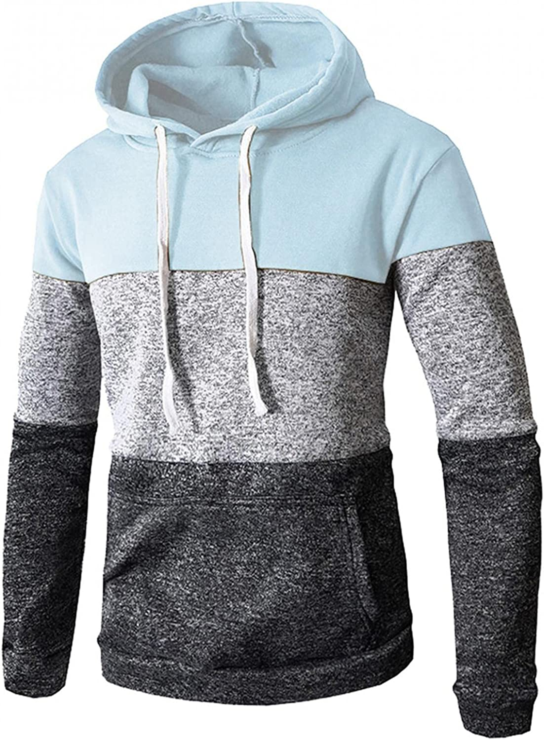 LEIYAN Mens Hoodie Pullover Casual Long Sleeve Color Block Sweatshirt Fashion Drawstring Outwear with Pockets