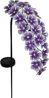 Exhart Hanging Purple Hydrangea Yard Stake w/Solar Garden Flower Lights, 24 LED Flower Lights Metal Stake, Outdoor Decor for Garden, Patio & Front Porch, 11