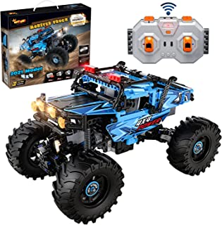 Build Your Own RC Car Kit for Kids | 4x4 Monster Truck Crawler Off Roader 2021 Toy Model | 699 Pieces, 2 Motors, LED Lights, 2 Speed Modes STEM Toys Building Set For 8+ Year-Old Boys&Girls Engineering