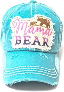 Women's Camping Cap Mama Bear & Cub Love Patch Embroidery Hat, Turquoise Jewel