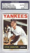 Steve Hamilton Autographed 1964 Topps Card #206 New York Yankees #83861777 - PSA/DNA Certified - NFL Autographed Football Cards