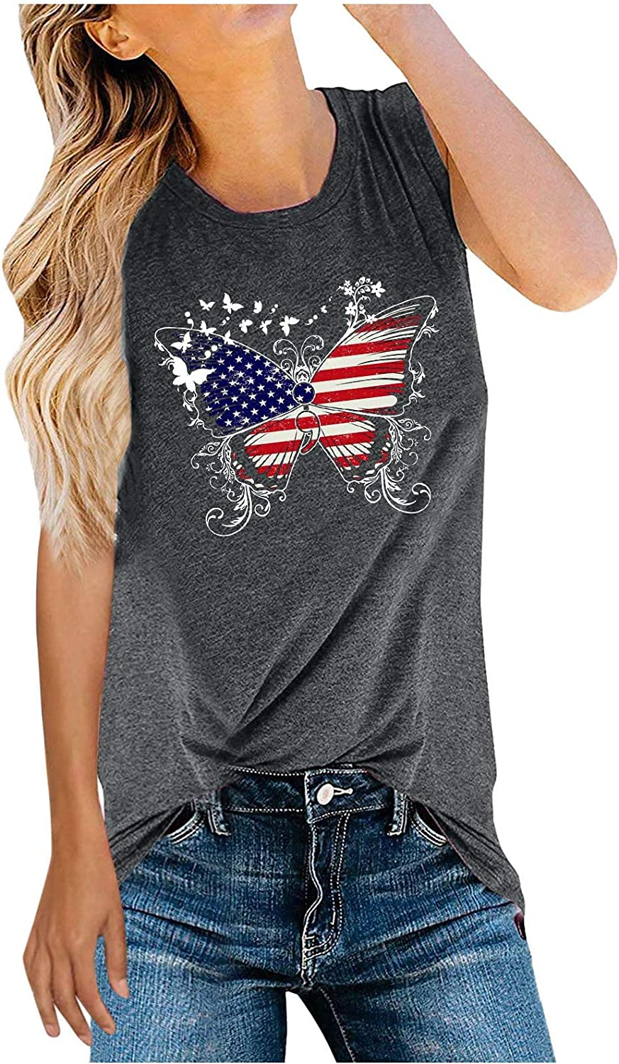 Tank Tops for Women, Summer Womens Casual Fashion Graphic Printed Sleeveless Tshirt with Butterfly July 4th