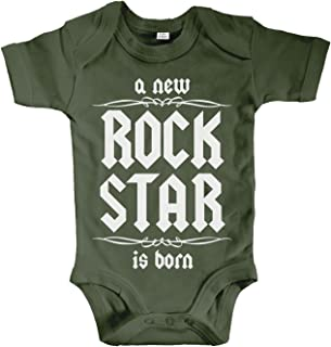 net-shirts Organic Baby Body mit A New Rock Star is Born Aufdruck Rock n Roll Heavy Metal Strampler Babybekleidung aus Bio-Baumwolle mit Zertifikat