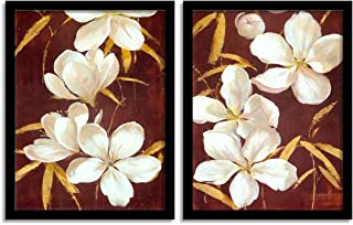 Painting Mantra Floral Theme Printed Set of 2 Wall Art Print -12 X 16 Inchs