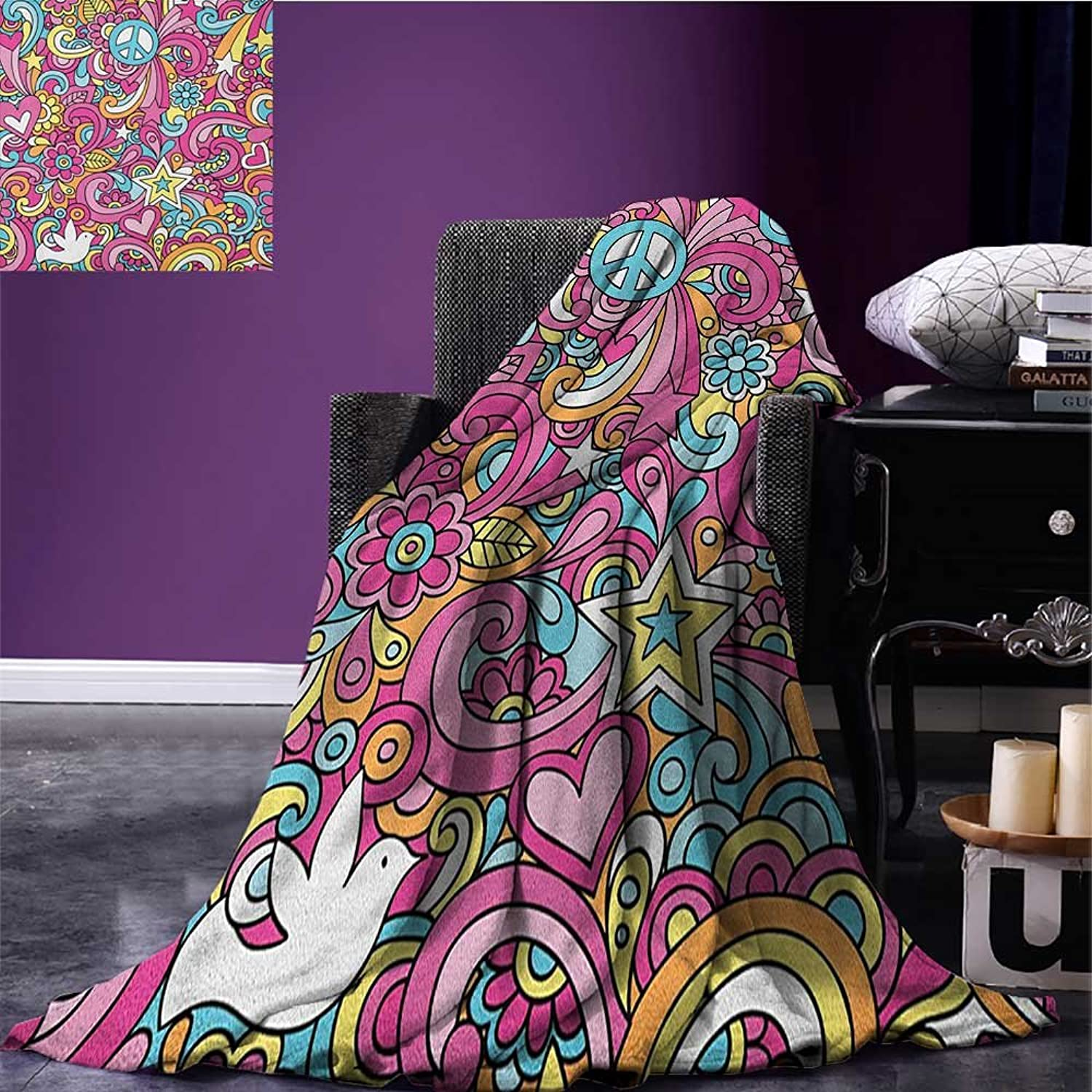Groovy Emergency Blanket Psychedelic Complex Funky Patterns with Stars Back to 60s Style Fun Retro Artsy Print Multicolor Size 59 x35.5