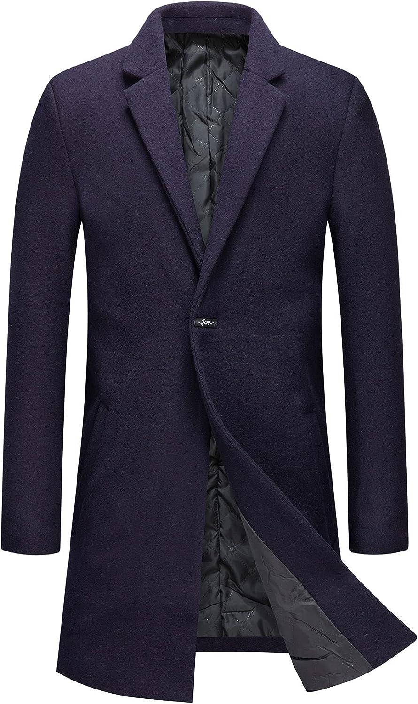 CHARTOU Men's Thicken 1 Button Quilted Peacoat Windproof Wool Coat Overcoat