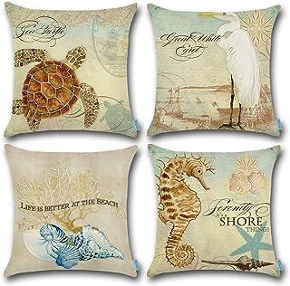 CARRIE HOME Beach Seashell Decor Golden Sea Turtle Seahorse/Blue Conch/White Waterfowl..