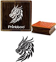 Printtoo Dragon Head Pattern Square Wooden Rubber Stamp Crafting Textile Stamps-3 x 3 Inches