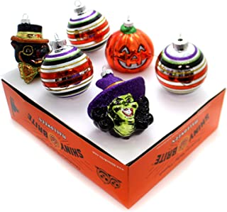 Radko Shiny Brite 6 Count Halloween Figures & Rounds Ornaments Black Cat Witch