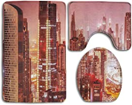 HDISJHF Non-Slip Absorbent Super Cozy Flannel Bathroom Rug Carpet Toilet Seat Cover and Rug with Cityscape Dubai at Night Cityscape Pattern