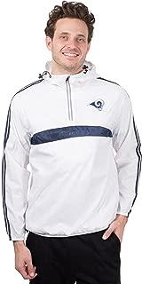 NFL Men's Quarter Zip Pullover Hoodie Packable Windbreaker Jacket