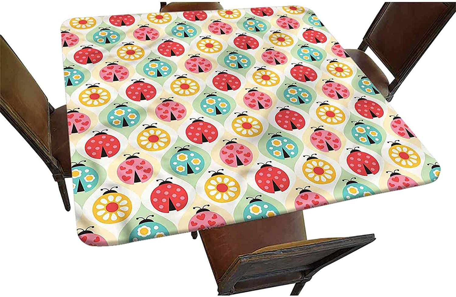 Kids Miami Branded goods Mall Decorative Elastic Edged Fitted Ladybugs Square Tablecloth