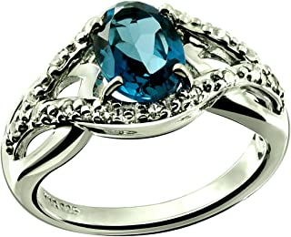 RB Gems Sterling Silver 925 Ring Genuine Gemstone Oval 8x6 mm with Rhodium-Plated Finish, Solitaire Style