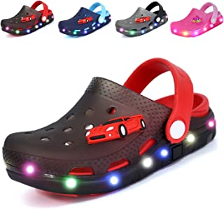 Nishiguang Kids Cute LED Flash Lighted Garden Shoes Clogs Sandals Children Boys Girls Toddlers Summer Breathable Slippers
