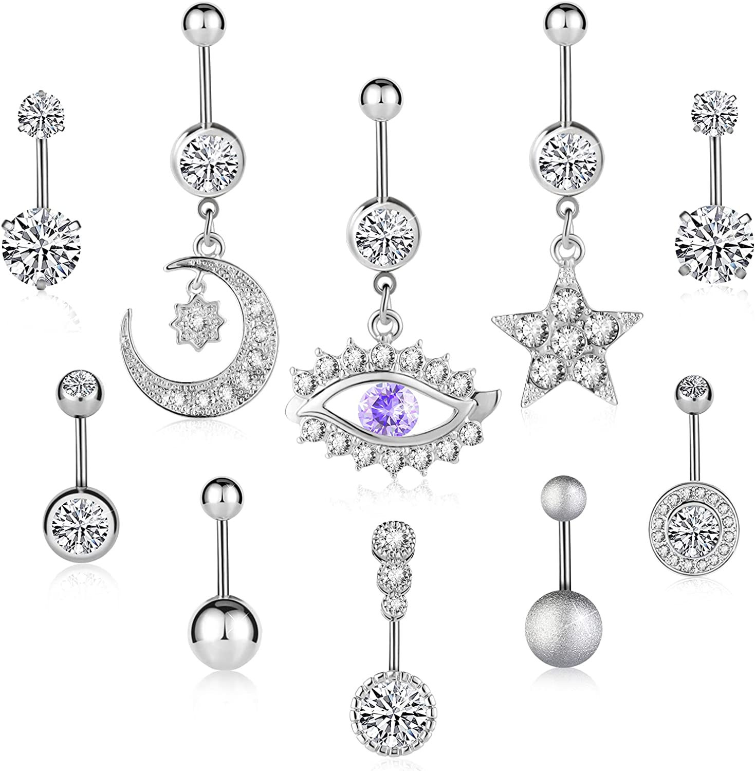 ALIWOLF Belly Button Rings Dangle Body Jewelry Surgical Stainless Steel CZ Navel Rings Body Jewelry for Women and Girls