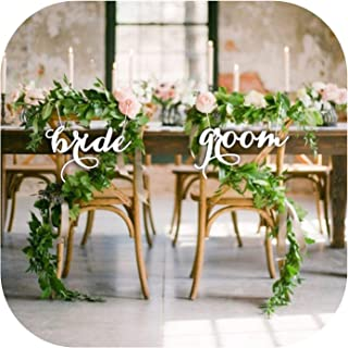 Solarphoenix Bride and Groom Mr and Mrs Chair Sign for Wedding Rustic Wedding Party Decor Wedding Photo Props Wedding Gift Wood,Mirror Gold,30CM
