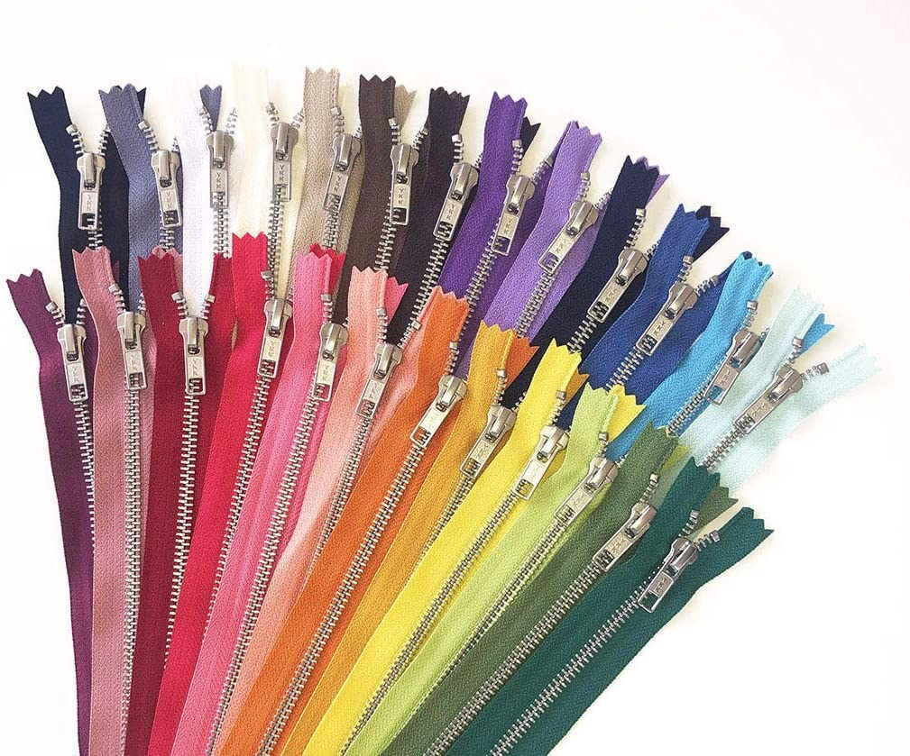 Silver Aluminum Metal Zippers - 25 Mixed Colors - YKK No. 5 Zipp