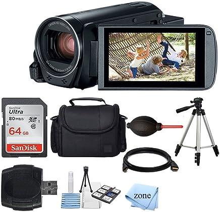 Canon VIXIA HF R800 videocámara (negro) + SanDisk 64GB tarjeta de memoria + cámara digital / funda de vídeo + batería adicional BP-727 + Trípode de calidad + lector de tarjetas + trípode de sobremesa / agarre + Deluxe paquete de accesorios