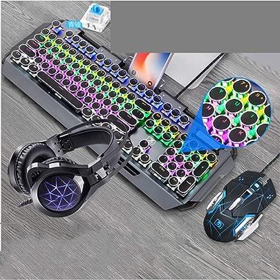 KJRJJP Mechanische Gaming Tastatur Maus und Kopfh rer dreiteiliger Anzug Schwarze LED RGB-Schalter Metall Wired Keyboard 3200DPI Maus Gaming-Kopfh rer mit bunten Licht-Atem Color Black Schätzpreis : 159,90 €