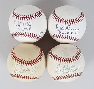 Lot of Pitchers – Don Larsen, Bob Feller, Denny Mclain & Brett Saberhagen Signed Baseballs – JSA