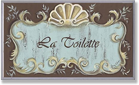 Stupell Home Décor La Toilette Aqua And Brown Scallop Shell Crest Bathroom Wall Plaque 10 X 0 5 X 15 Proudly Made In Usa Home Kitchen
