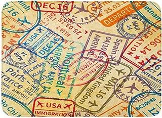 多くのカラフルな国際旅行ビザゴム印が古いパスポートに刻印されています屋内屋外ドアマットラグフロアマット滑り止め寝室用バスルームリビングルームキッチン23.6×15.7インチ家の装飾