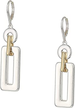 Two-Tone Link Drop Earrings