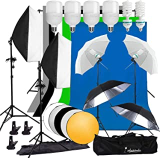 Abeststudio Photography Studio 2850W Softbox Umbrella Lighting Kit, 6.6x10ft Background Support Stand, 5 Colors Backdrops, 6 bulbs, 50x70cm Softbox + Light Stand for Figure Portrait Product Video Shooting