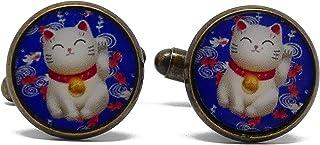 2 Gemelli da polso costume resina gatto cinese portafortuna blu rosso bianco personalizzato regali Natale cerimonia nozze ...