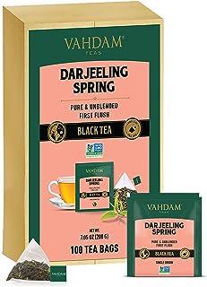 VAHDAM, Exotic Darjeeling First Flush Tea Leaves, 100 Count, Long Leaf Pyramid Darjeeling Tea Bags, Aromatic & Flowery, 10...