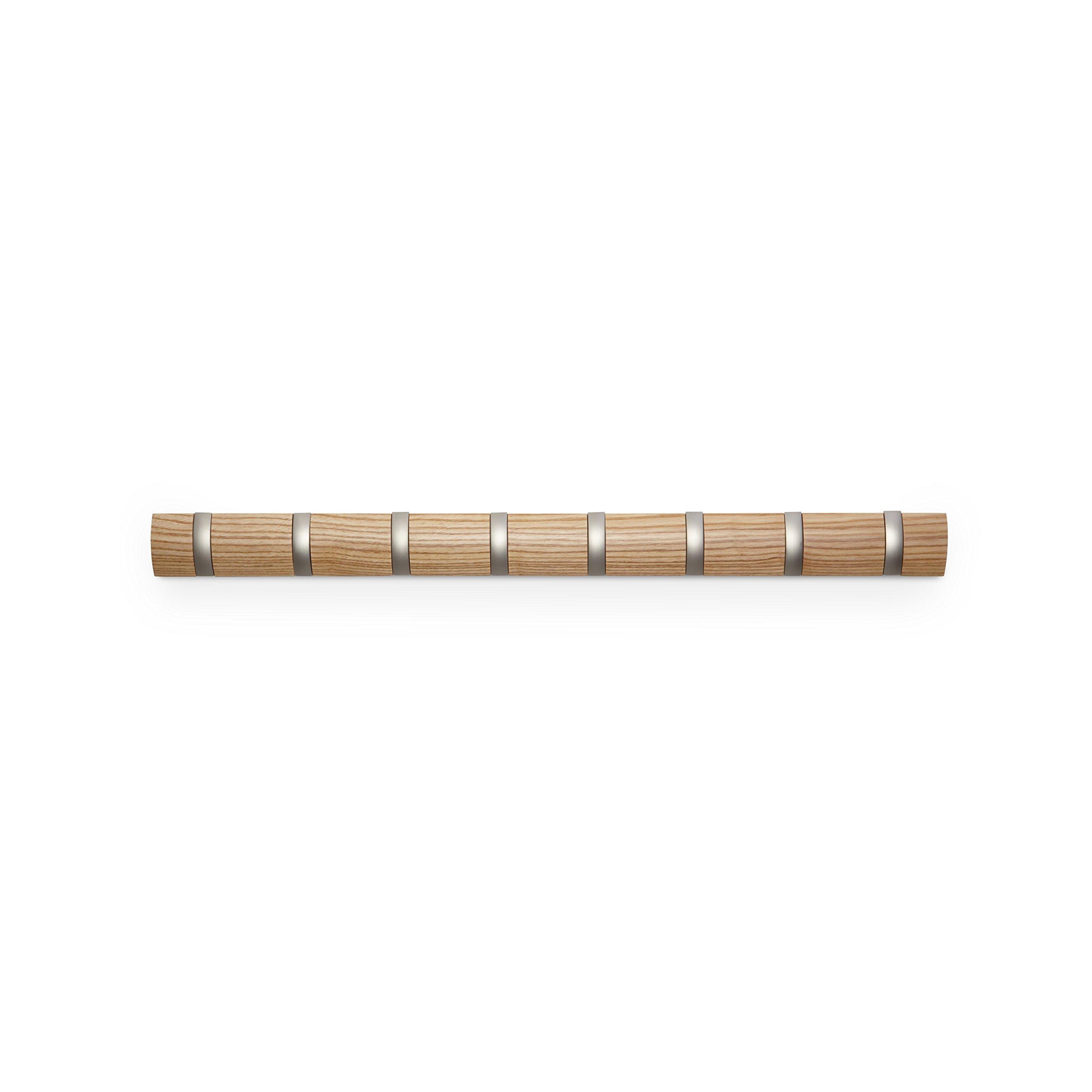 Umbra 翻盖 5 钩壁挂式浮动衣架 - 现代、时尚、节省空间的衣架,带 5 个可伸缩挂钩,用于悬挂外套、围巾、钱包等,胡桃木色/黑色 天然 8 钩 318858-390