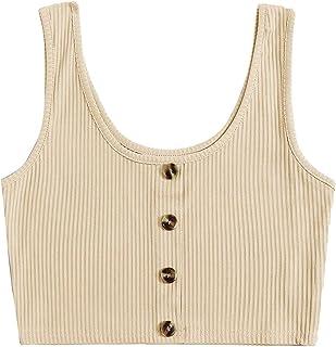 Romwe Women's Casual Basic Scoop Neck Sleeveless Summer Crop Tee T-Shirt Tank Top Vest