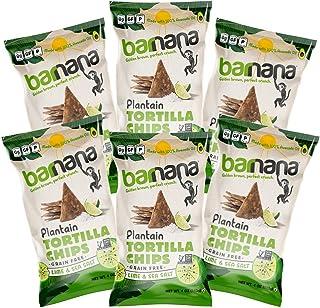 Barnana Grain-Free Plantain Tortilla Chips, Lime & Sea Salt, 6 Count