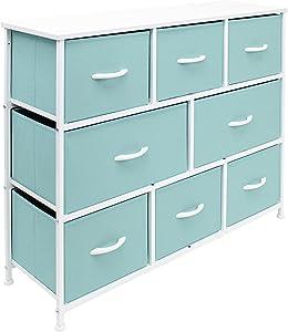 Sorbus Dresser - Furniture Storage Chest for Kids Clothing Organization, Large Organizer for Playroom, Nurseries, Bedroom, Hallway, Closet, Steel Iron Frame, Wood Top, 8 Fabric Drawers (Aqua)
