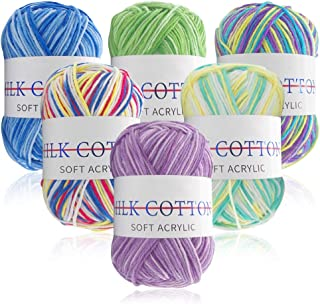6 Pièces 50g Fil de Crochet Multicolore, Lain Crochet Laine pour Tricot, Main Acrylique Fil à Tricoter Ensemble déal pour ...