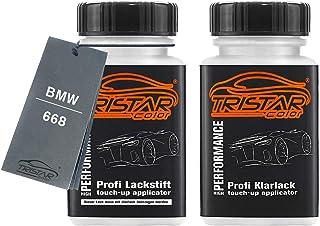 TRISTARcolor Autolack Lackstift Set für BMW 668 Jet Black Basislack Klarlack je 50ml