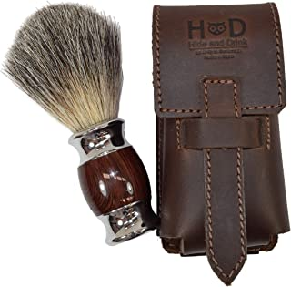 Thick Leather Shaving Barber Brush Case/Travel Protective Sleeve Handmade by Hide & Drink :: Bourbon Brown