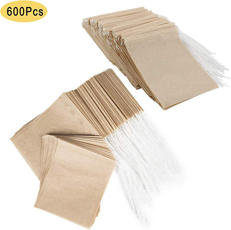 NEPAK 600PCS Disposable Tea Filter Bags Paper Tea Filter Bags With Drawstring Safe Strong Penetration Unbleached Paper For Loose Leaf Tea And Coffee