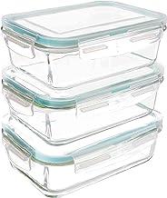 Utopia Kitchen Recipiente - Contenedor de Almacenamiento de Alimentos de Vidrio - 6 piezas (3 envases + 3 tapas) - Tapas transparentes - Sin BPA - Para la Cocina o el Restaurante de Uso Doméstico