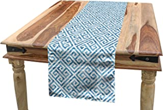 Ambesonne Greek Key Table Runner, Tile Mosaic Pattern in Blue and White with Antique Meander and Camo Effect, Dining Room Kitchen Rectangular Runner, 16