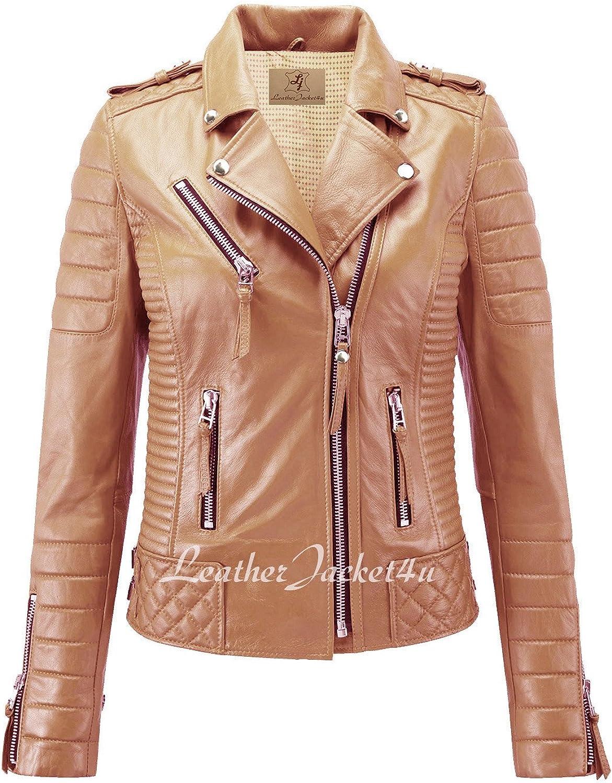 Women's Stylish Lambskin Genuine Leather Motorcycle Biker Jacket Camel Beige