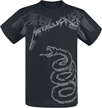 Metallica Black Album Faded Hombre Camiseta Negro, Regular