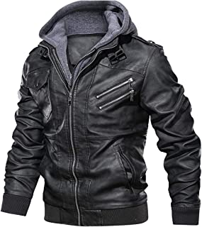 Best mens leather jackets with hood Reviews