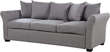 Casa AndreaMilano Classic and Traditional Ultra Comfortable Linen Sofa-Living Room Fabric Couch, Ash