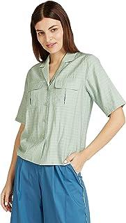 Iconic Women's 2091103 SS24PATPKTSH Woven Body Blouse, Green