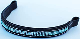 St. Charles Horse English Bridle BROWBAND Bling Crystals Tack USA Leather Turquoise 80947F
