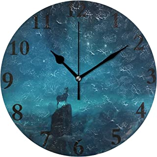 NMCEO Wall Clock Aries Constellation Painting Round Hanging Clock Acrylic Battery Operated Wall Clocks for Home Decor Creative
